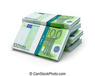 paquets, isolé, billets banque, 100, factures, pile, euro