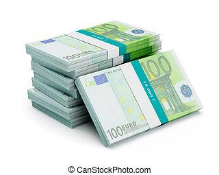 paquets, isolé, billets banque, 100, pile, euro