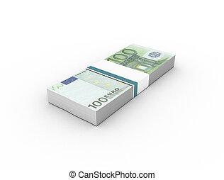 paquets, isolé, fond, 100, (bills), blanc, euro