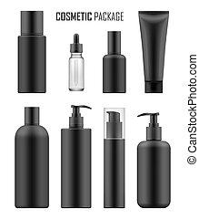 paquets, noir, luxe, cosmétique