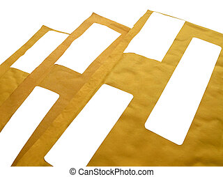 paquets, papier, 3, isolé, jaune, recyclage, (envelopes), courrier