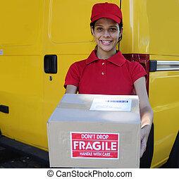 paquets, postier, courrier, livrer, livraison, postal, ou