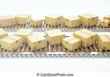 paquets, transport, service, convoyeur, concept, livraison, système, conditionnement, rendre, boîtes, ceinture, carton, colis, 3d