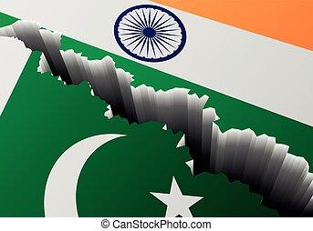 PAQUISTÁN, bandera,  India, profundo, grieta