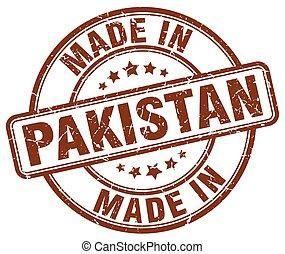 paquistán, hecho, grunge, marrón, estampilla, redondo