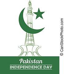 paquistão, dia, independência, cartaz