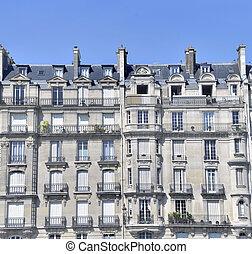 parís, antiguo, prestigious, fachada de edificio