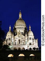 parís, basílica, noche, sacre-coeur