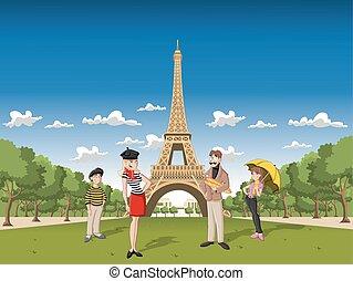 parís, caricatura, familia