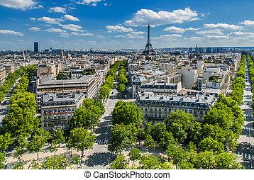 parís, cityscape, vista, aéreo, francia