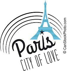 parís, ciudad, amor, ilustración, cartel