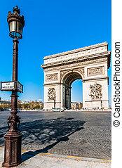 parís, ciudad, arco, triunfo, francia