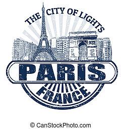 parís, ciudad, lights), estampilla, (