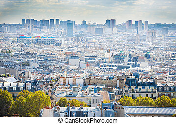 parís, ciudad, montmartre, panorama