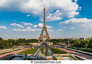 parís, ciudad, torre, eiffel, francia
