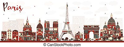 parís, color, contorno, landmarks., francia