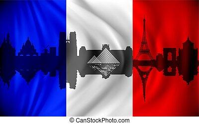 parís, contorno, bandera, francia