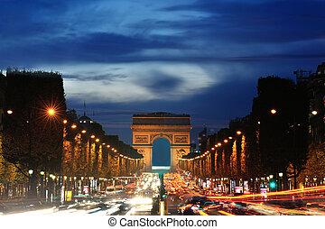 parís, de, arco, triomphe, francia