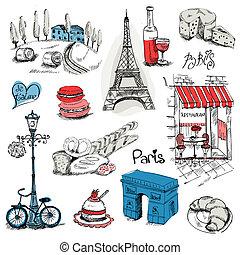 parís, diseño, conjunto, -, ilustración