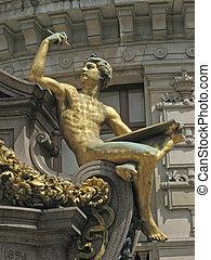 parís, dorado, -, estatua