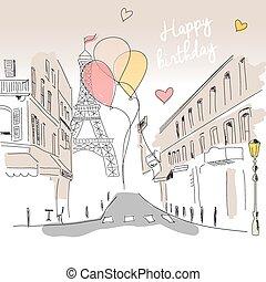 parís, eiffel, mano, cumpleaños, calle, globos, dibujado,...