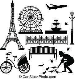 parís, ferris, torre, eiffel, rueda