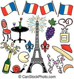 parís francia, elementos, clipart, iconos