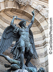 parís, fuente, estatuas, michel, santo