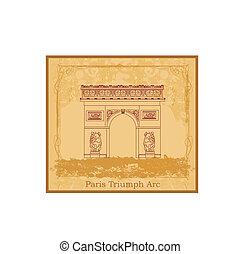 parís, ilustración, arco, vector, triunfo, mano, dibujado