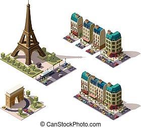 parís, isométrico, vector, arquitectura, elementos