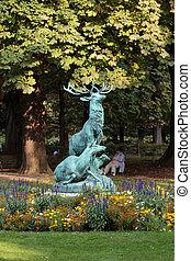 parís, jardín, venado, estatua, luxemburgo