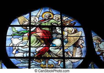 parís, manchado, -, ventana de cristal, iglesia, saint-...
