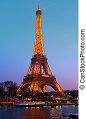 parís, -, marzo, 31:, torre eiffel, en, festivo,...