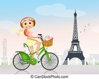parís, niña, bicicleta
