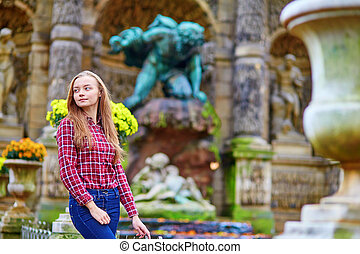 parís, niña, jardín, luxemburgo, joven