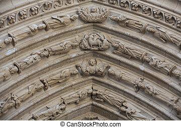 parís, -, oeste, fachada, de, notre dame, cathedral.