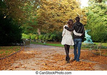parís, pareja, fechando, jardín, luxemburgo