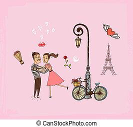 parís, pareja, romántico, vacaciones