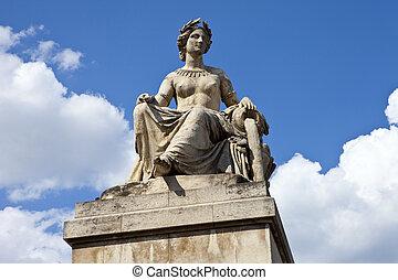 parís, pont, du, carrusel, estatua