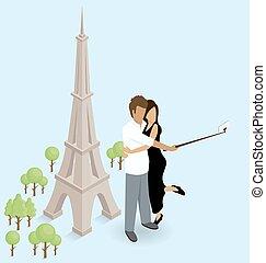 parís, selfie, eiffel, elaboración, torre, pareja