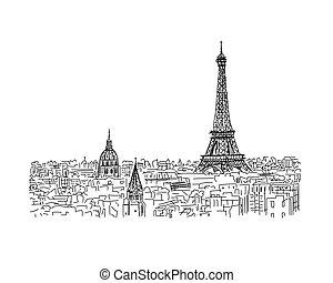parís, su, eifel, bosquejo, diseño, cityscape, tower.