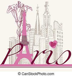 parís, tarjeta, urbano, arquitectura, y, lirio