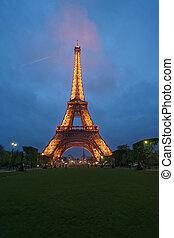 parís, torre, eiffel, iluminado, francia