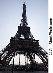 parís, torre, eiffel, silueta