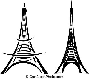 parís, torre eiffel, vector, arte