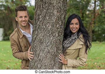 par, árvore, enamoured, atrás de