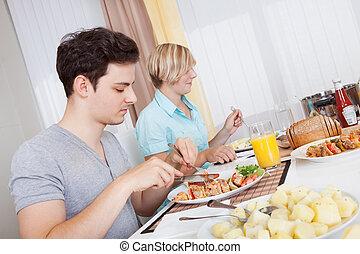 par, äta, a, kall, lunch