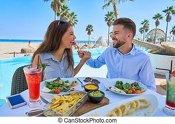 par, äta, ung, slå samman, restaurang
