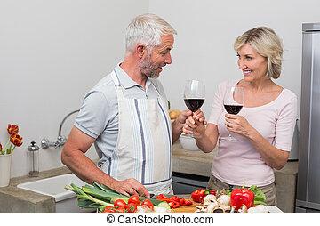 par, óculos, maduras, vinho