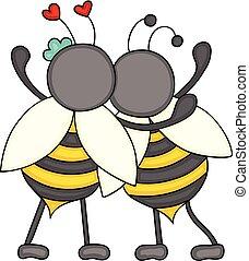 par, abelhas, huggeding, costas